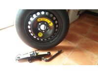 Space saver Spare wheel with jack and wheel brace