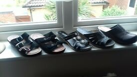 5 pairs ladies leather mules, size 4
