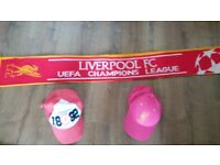 Official Liverpool FC scarf and baseball caps.