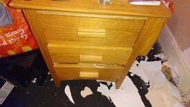 Solid oak bedside cabinet