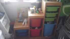 Ikea solid wood storage with boxs