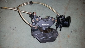 Honda CBR600F4i front brake calipers, master cylinder, pads, braided lines, fits VTR1000 as upgrade