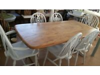 Ercol table - top professionaly stripped and sealed with 6 wheel back chairs prepated and painted