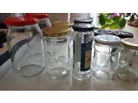 11 glass jars