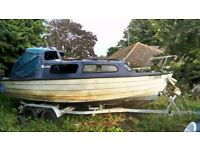 18 - 20ft Boat and twin wheel galvanised trailer 1400