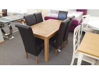 Oak Dining Table 150cm & 6 Cuba Dining Chairs Can Deliver