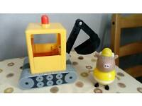 RARE peppa pig mr bulls digger with phrases and sounds