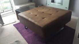 Quality Beautiful brown leather seat chair 40 inches x 40 inches x 20inches