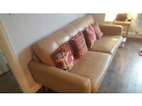 John Lewis 1950s Retro leather sofa for sale.