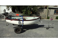 8ft GRP Dinghy / tender with Seagull outboard, oars, anchor & trailer