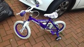 girl's bike with stabilisers NEW 3,4,5YRS