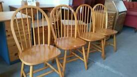 Set of 4 hardwood dining chairs
