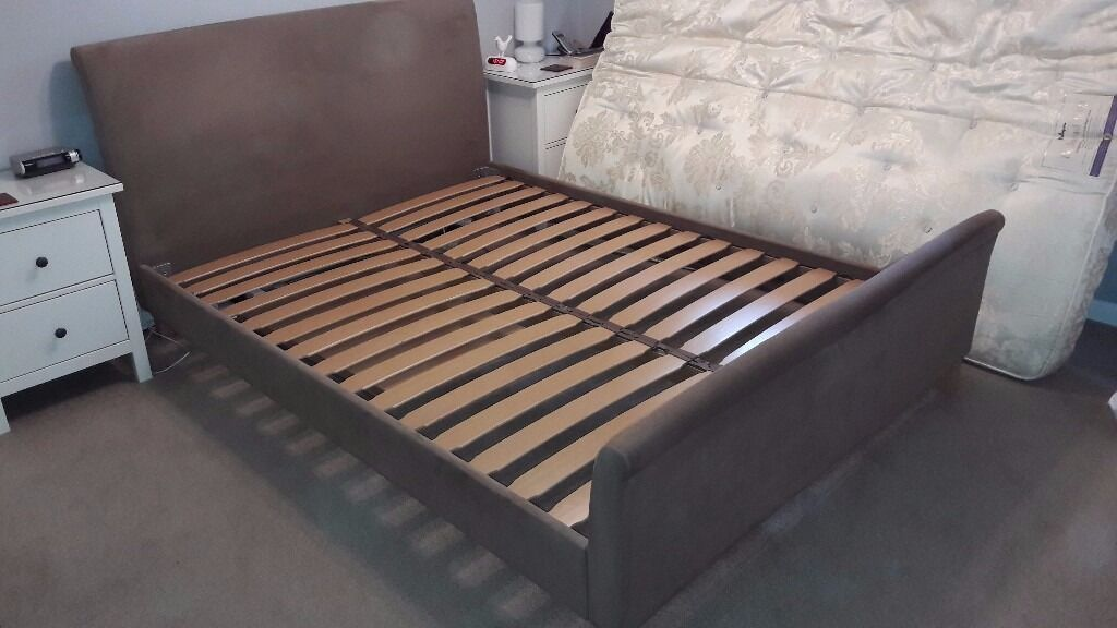 luxury king size bed frame mink suede fabric sprung slatted base cost - Bed Frame Cost