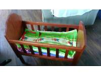 Handmade vintage wooden Cot toy