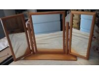 pine 3 way dressing table mirror