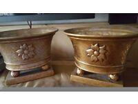 Pair gold plant pots/ pot pourri