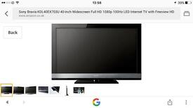 "Sony Bravia 40"" KDL-40EX703 Full HD 1080p LED TV WITH FREEVIEW"