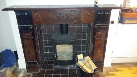 Two real original slate Victorian fireplace surrounds - removed and ready for collection
