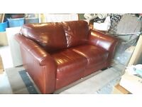 2 and 3 seater brown leather sofas for sale.