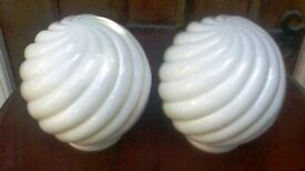 AN ORIGINAL PAIR OF 1920'S ART DECO, LAMP/LIGHT SHADES.