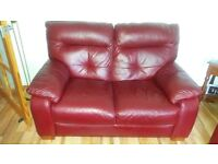 two seater sofa red leather
