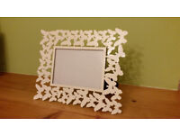 Ornate white butterfly picture frame