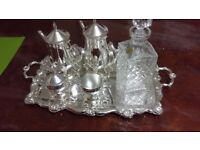 Vintage tea set and decanter