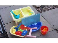 water/sand table, wheelbarrow plus more
