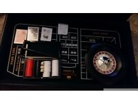 3in1 casino games wood table top cabinet black jack cards roulette wheel