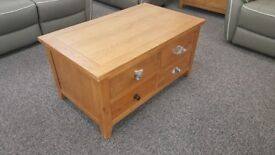 DFS Parker Storage 4 Drawer Solid Oak Coffee Table **CAN DELIVER**