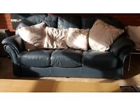 THREE PIECE LEATHER LOUNGE SUITE USED