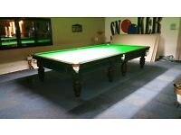 3 matching 12x6 burroughs and watts snooker tables with steel cushions