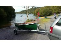Heyland Lugger sailing boat and trailer. Trailer has done less than 200 miles.