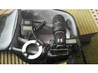 Nikon gear body + lens + teleconverter 2x + macro flash