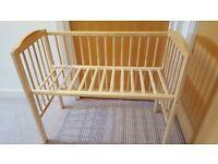 Wood cosleeper crib/small cot with mattress
