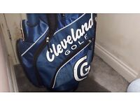 Cleveland golf bag trolly and clubs