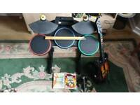 Wii Guitar Hero Bundle - Guitar Hero World Tour + Band Hero + guitar + drumkit + microphone