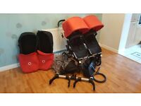 Pre-loved Bugaboo Donkey Twin/Duo Pushchair/Stroller in Red & Black with Accessories