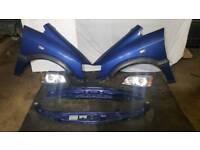 Vauxhall Zafira a 2002 BLUE. Bonnet, wing, headlight,