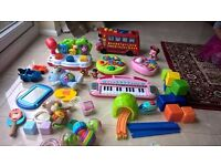 Bundle of baby toys- Alphabet bus, piano, little tikes, alfie bear, blocks, shapes, little people