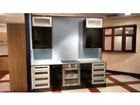 Ex Kitchen Showroom display - Gloss black/glass units, double oven and induction hob - May split