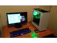 "MID LEVEL GAMING PC,QUAD CORE,NZXT CASE,WATER COOLED,16 GIG RAM,BENQ 22""GIGABYTE MOBO,2 HARD DRIVES"