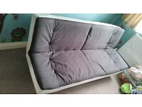 Grey and white sofa bed
