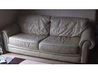 FREE 3/4 Seater Cream Leather Sofa - Leighton Buzzard
