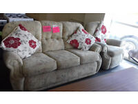 3 Seater Settee / Sofa + Chair. Very Good Condition. Local Delivery..S.O.T Area. *** NOW £69 **