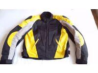 Gallanto black/yellow motorbike jacket in size XL