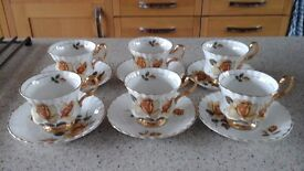 Royal Imperial Fine Bone China Tea Set with Yellow Rose Patten c1950's
