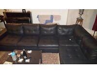 Black Leather Corner Sofa.