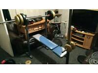 Home gym Bench press lat pulldown squat rack
