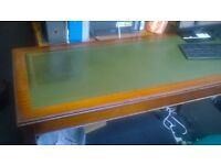 ANTIQUE STYLE STURDY OFFICE/COMPUTER DESK WITH GREEN LEATHER TOP